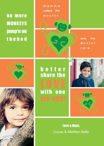 valentine's cards - No More Monkeys On the bed by Marnie Bello