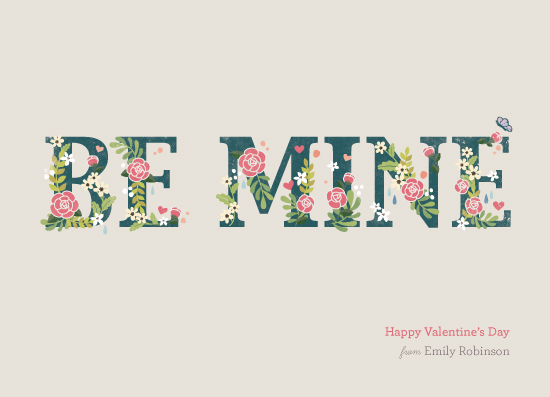 valentine's cards - Be Mine Typography by Four Wet Feet Studio