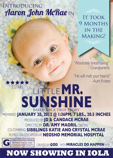 birth announcements - Little Mr. Sunshine by Candace McRae