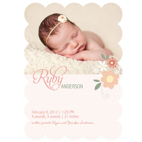 birth announcements - Ruby Baby Floral by Holly Brooke Jones