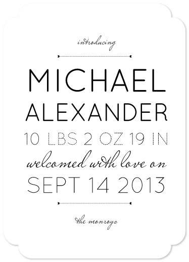 birth announcements - Welcomed With (Typography) Love by Mint and Merit