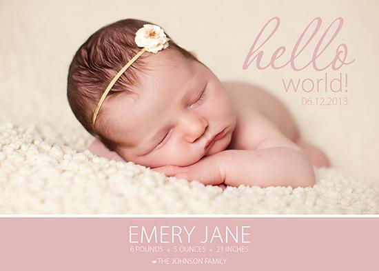 birth announcements - Emery Jane by Larissa Degen