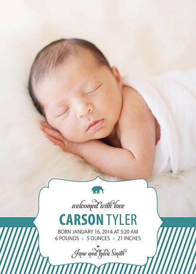 birth announcements - Carson Tyler Striped Embellishment by Larissa Degen