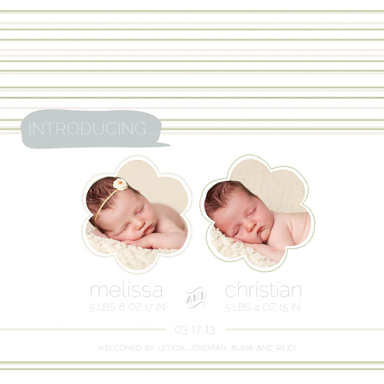birth announcements - Flores Double by Mint and Merit