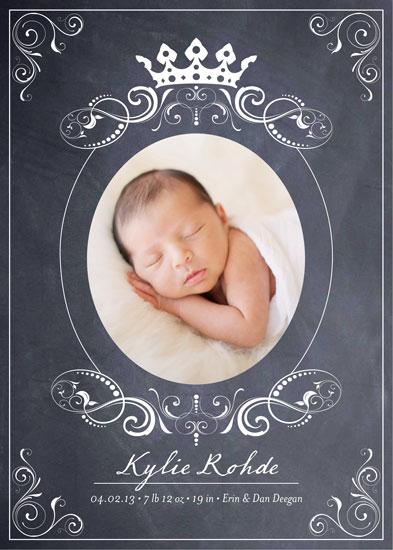 birth announcements - Royal Chalkboard Birth Announcement by Erin Deegan
