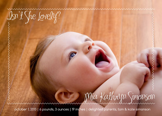 birth announcements - She's Just Lovely by Kate Secondo