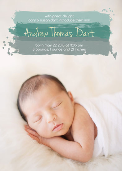 birth announcements - Paint Swash by Kate Secondo