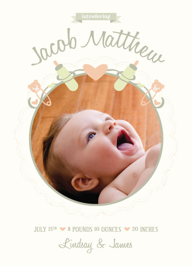 birth announcements - Bubbas and Pins by Rachel Smith