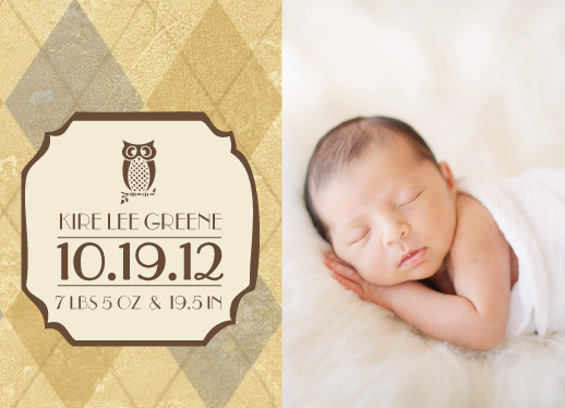 birth announcements - Argyle Owl by Jessica Morris