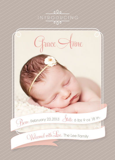 birth announcements - Ribbon welcome by Sooki Carrano