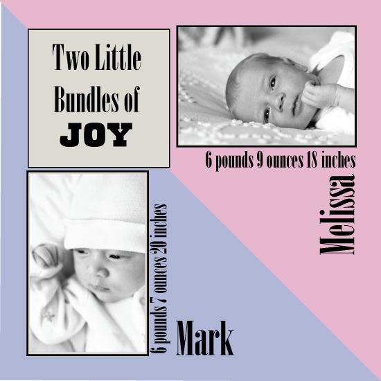 birth announcements - Two Little Bundles of Joy by Anna Gatherum