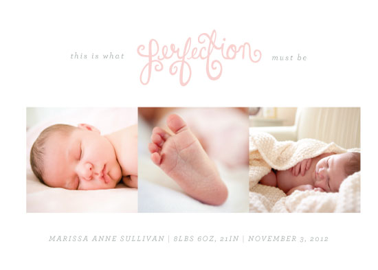 birth announcements - Perfection by Sincerely Jackie