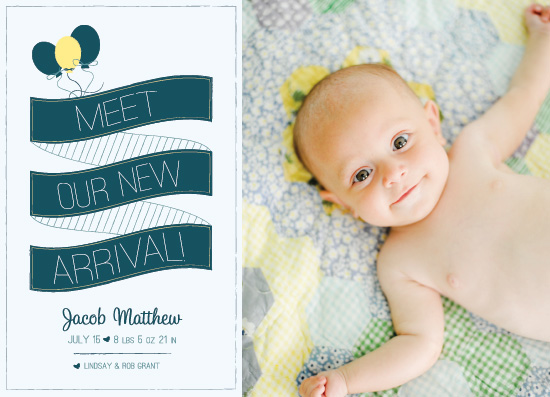 birth announcements - Balloon Arrival by Rachel Smith
