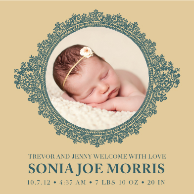 birth announcements - Antique Frame by Jessica Morris