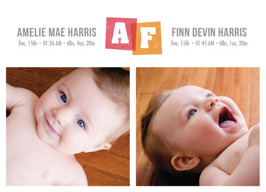 birth announcements - Twin Stamps by Heather Francisco