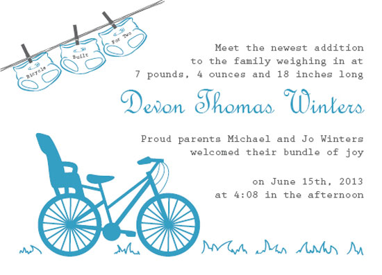 birth announcements - Bicycle for Two by Brittani Mulvaney