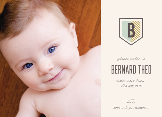 birth announcements - Striped Crest by Heather Francisco
