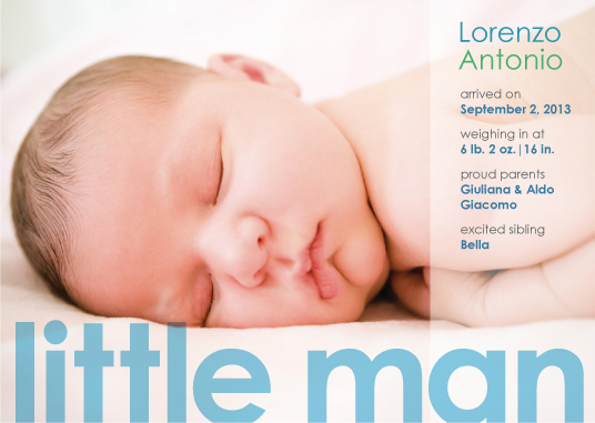 birth announcements - little man by Lidia Varesco Design