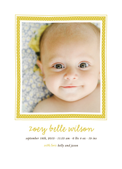 birth announcements - Polka Dot Frame by Roxy Cervantes
