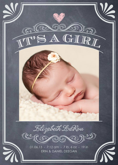 birth announcements - It's a Girl Vintage Chalkboard by Erin Deegan