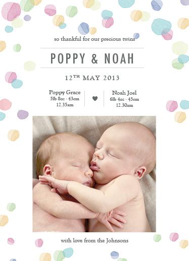 birth announcements - Twin Watercolour by Jordan Bariesheff