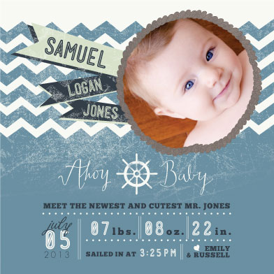 birth announcements - Ahoy, Little One by Me and Miss Co.