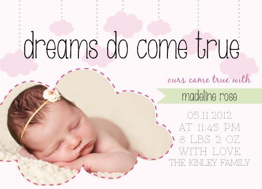 birth announcements - Dreams Come True by Krislyn Perez