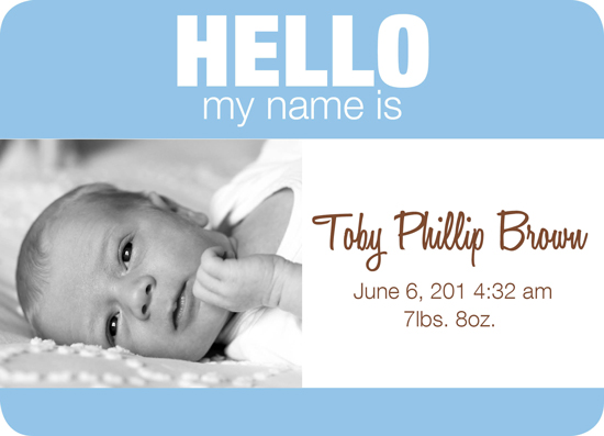 birth announcements - Baby Name Tag - Boy version 2 by Trisha Allex