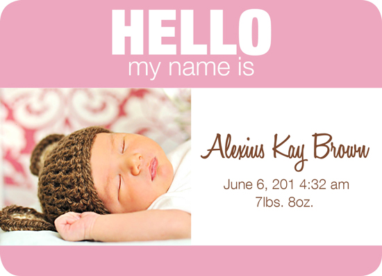 birth announcements Baby Name Tag Girl version 2 at Minted – Baby Name Announcement