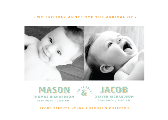 birth announcements - Twin Type by Paper and Parcel