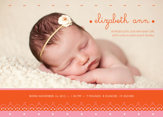 birth announcements - Sweet Eyelet by Rebecca Schyllander