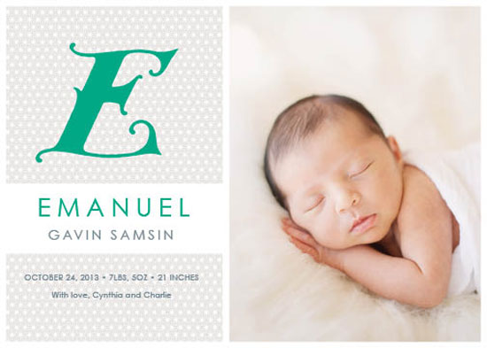 birth announcements - E Is For Emanuel by Rebecca Seltzer
