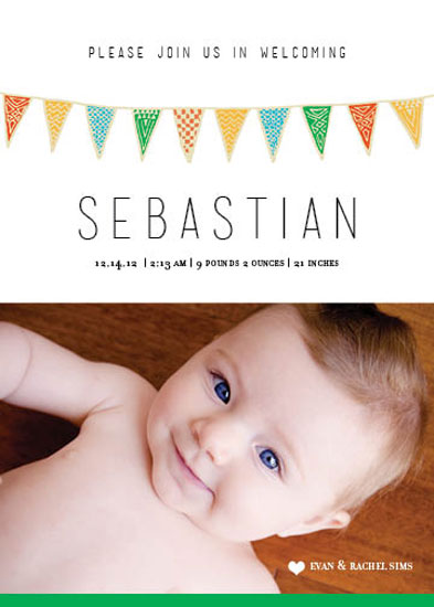 birth announcements - Flags Waving by Rebecca Seltzer