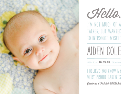 birth announcements - Not Much of a Talker by Carolyn MacLaren