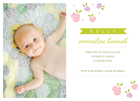 birth announcements - Ribbon and Roses by Ivana Brata