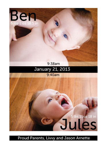 birth announcements - Twin Bold Ribbon by amber g.