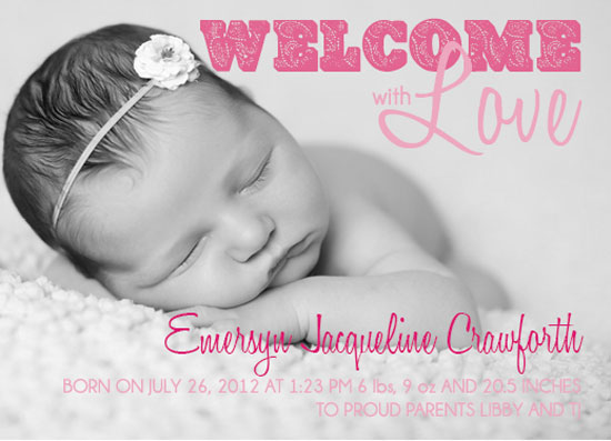 birth announcements - Welcome with Love by Elizabeth Silver