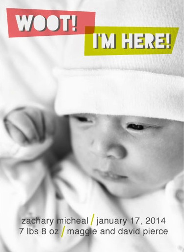 birth announcements - Woot!  I'm Here! by Robin Nathan