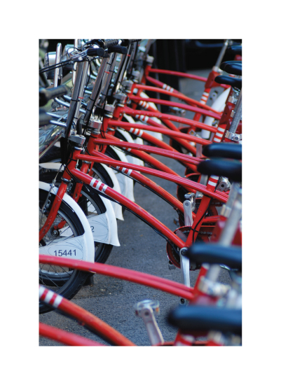 art prints - Red Bikes by Laura Mitzelfelt
