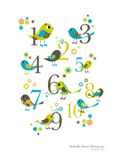 art prints - Whimsical Bird Count by Bloom Creative Co.