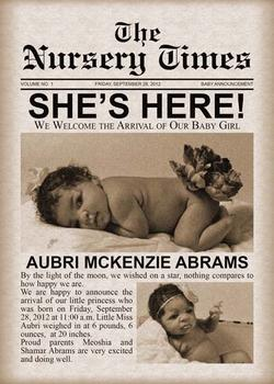 Baby Newspaper Annoucement