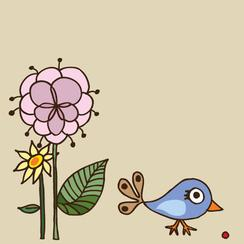 cute bird and flowers Art Prints