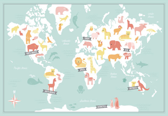 art prints - Animal World Map by Jessie Steury