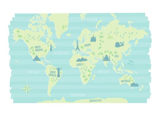 art prints - Modern World Landmark Map by Jessie Steury