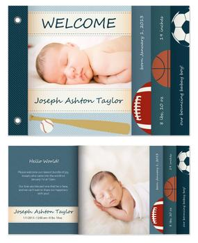 bouncing baby boy birth announcement