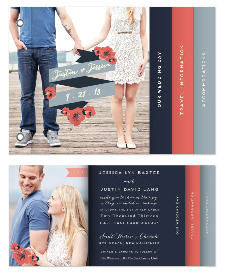 minibook cards - Nautical Floral Wedding Invitation by 603 Creative Studio