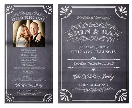 minibook cards - A Chalkboard Marriage Wedding Program by Erin Deegan