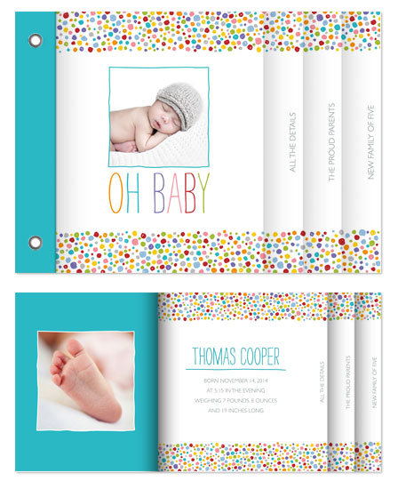 minibook cards - Polka Dotted Baby by Erin Deegan