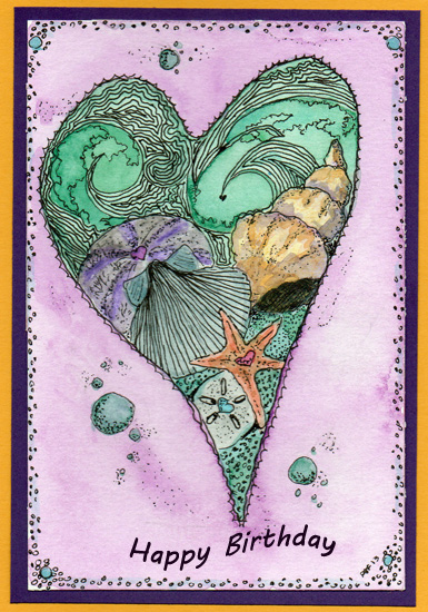 greeting card - Oceanic Heart by Debby Frisella