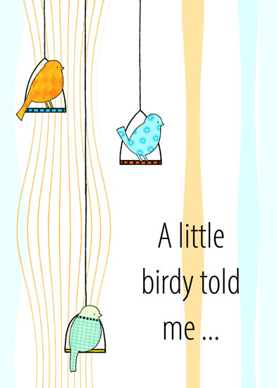 greeting card - A Little Birdy Told Me - Retro by Olivia A Kneibler